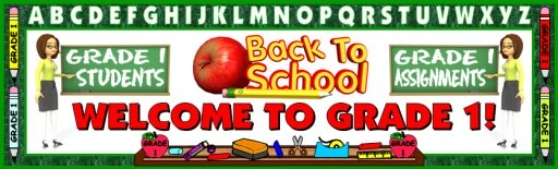 Back To School Grade 1 Bulletin Board Display Banner