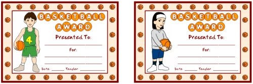 Basketball Award Certificates For Children and Elementary School Students