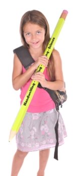 Large Pencil and Elementary School Girl Student