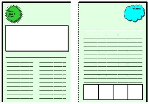 Biography Book Report Project Newspaper Templates for Elementary Students