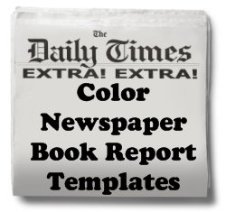 Newspaper Book Report Projects Color Templates