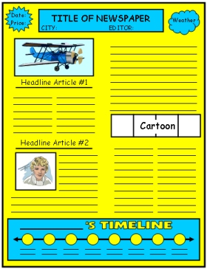 Biography Book Report Projects and Newspaper Writing Templates