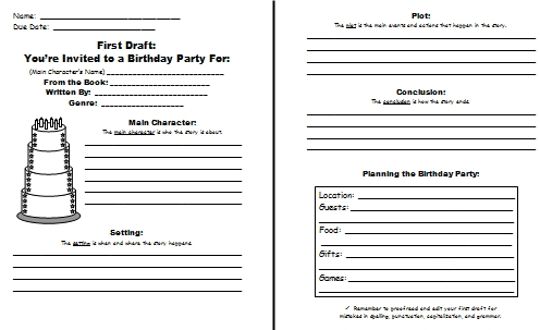Birthday Cake Book Report Project First Draft Worksheets