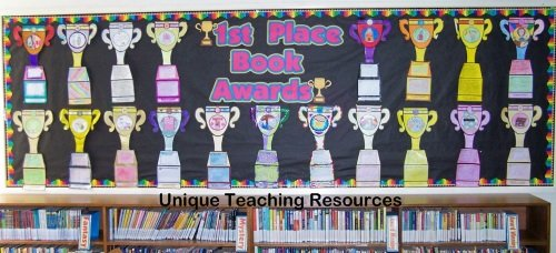 Book report bulletin board display for favorite books that students have read during the year.