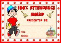Boy 100 Percent Attendance Award