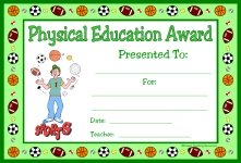 Physical Education PE Award Certificate For Boy Students