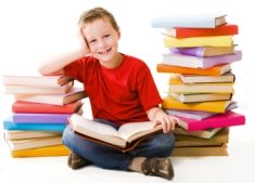 Elementary School Boy Loves Reading Books