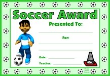 Soccer PE Award Certificate For Boy Students