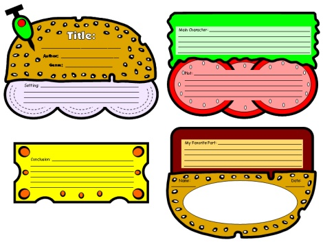 Cheeseburger Book Report Projects Templates and Printable Worksheets