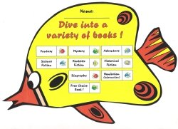 Dive Into Reading a Variety Books Fish Reading Sticker Charts