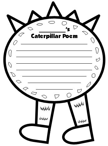 Caterpillar Poetry Writing Templates Center Section