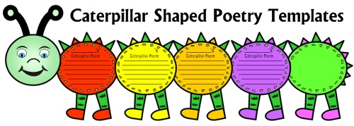 Caterpillar Shaped Creative Writing Poetry Templates and Worksheets