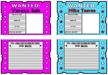 Charlie and the Chocolate Factory Lesson Plans Author Roald Dahl – Examples of Wanted Posters