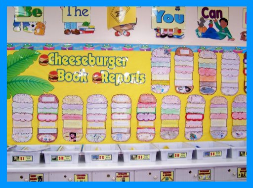 Cheeseburger Book Report Projects Classroom Bulletin Board Display