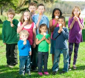 Children Eating Ice Cream Cones