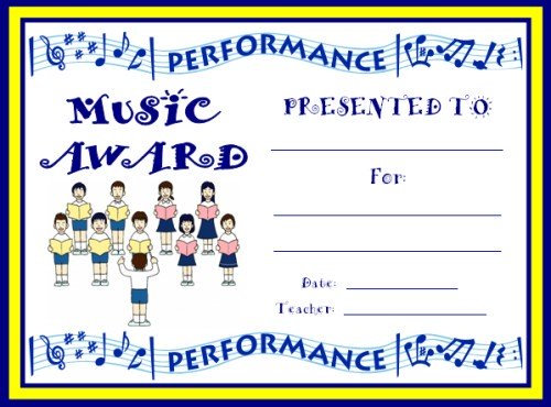 Elementary Choir Performance Award Certificate