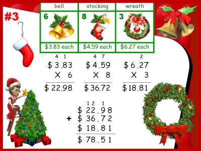 Math Word Problems for Christmas Powerpoint Presentation Lesson Plans
