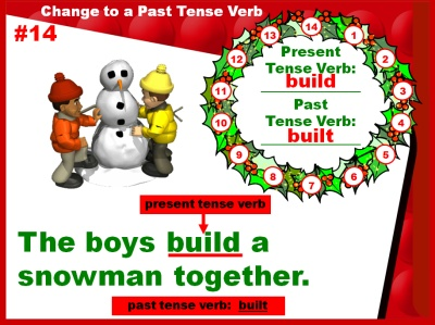 Christmas Past and Present Tense Verbs and Grammar Powerpoint Presentation and Lesson Plan Activities
