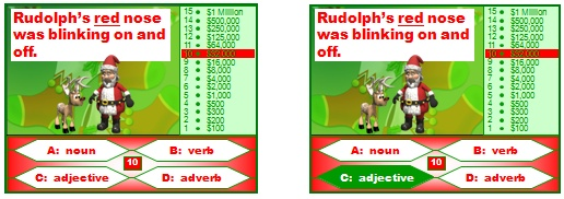 Christmas Who Wants To Be a Millionaire English Grammar Powerpoint Lesson Plans Game: Parts of Speech