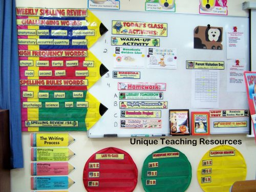 Classroom pocket chart displays for spelling words and student behavior.