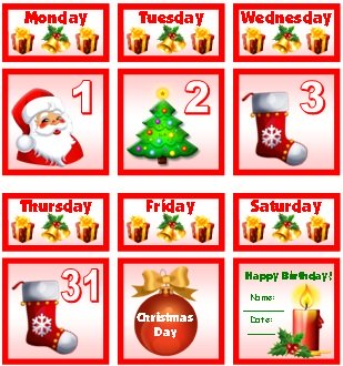 Christmas and December Printable Calendar For School Teachers