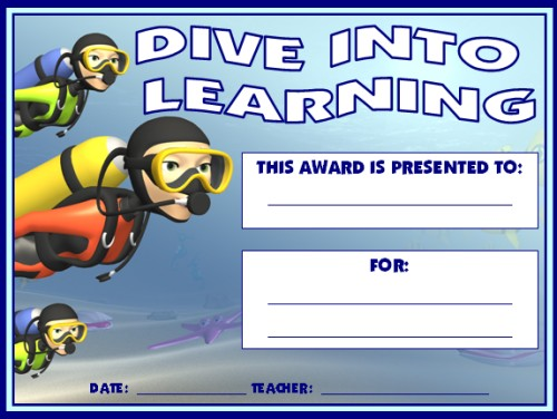 Dive Into Learning Achievement Award Certificate