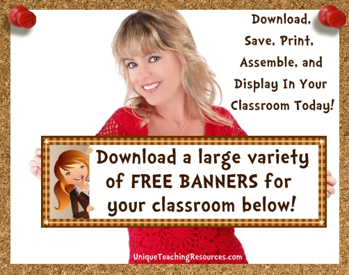 Free Classroom Decoration Resources : Free bulletin board display banners download