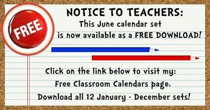 Click here to download my FREE June pocket chart classroom calendar set.