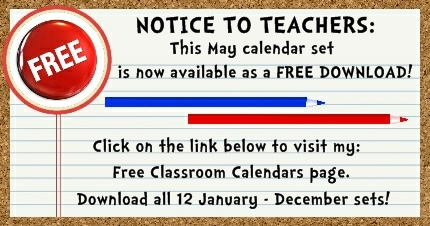 Click here to download my FREE May pocket chart classroom calendar set.