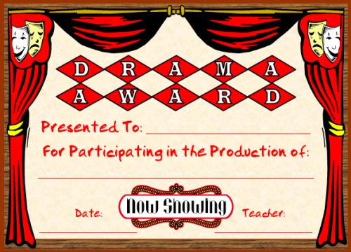 Drama and Theatre Award Certificate for Elementary School Children