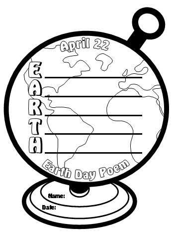 Earth Day Acrostic Poem Globe Writing Template