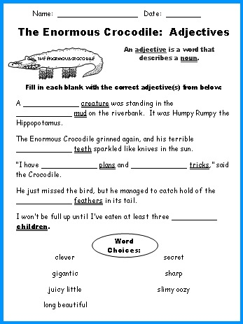 Enormous Crocodile Adjective Review Worksheet Roald Dahl Lesson Plans