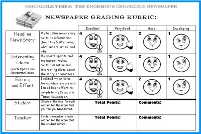 Student Newspaper Grading Rubric The Enormous Crocodile