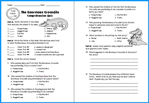 The Enormous Crocodile Quiz and Test Printable Worksheets Roald Dahl Lesson Plans