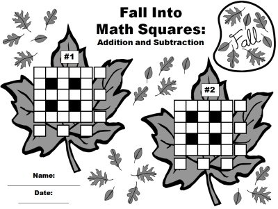 Math Leaf Worksheets for Fun Fall and Autumn Addition and Subtraction Puzzles