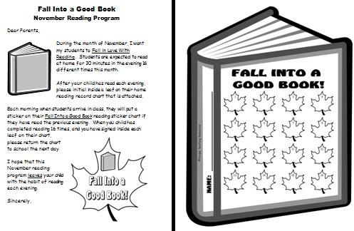 Parent Letter For Fall Reading Program