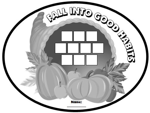 Fall and Thanksgiving Sticker Charts Cornucopia Templates