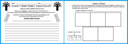 Family Tree Newspaper First Draft Printable Worksheets