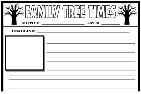 Family tree lesson plans large tree templates for for Free printable newspaper template for students