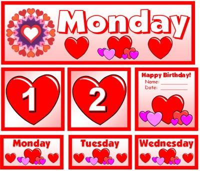 February Pocket Chart Calendar Set for Valentine's Day