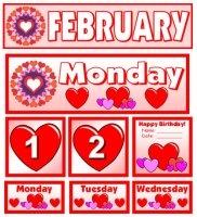 Free February Calendar Set Download