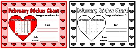 Valentine's Day Sticker Chart Award Certificate to Print