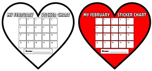 Valentine's Day Sticker and Incentive Charts Heart Shaped Templates