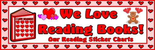 Valentine's Day I Love Reading Bulletin Board Display Banner