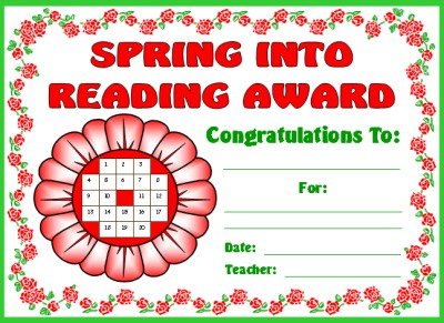 Reading Award Certificate Spring Flower Theme