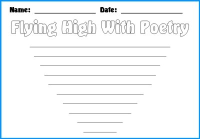 Spring Flying High With Poetry Kite First Draft Worksheets