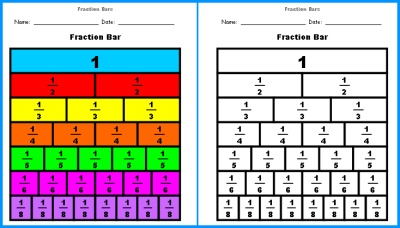 Fraction Worksheet with Fraction Bar Templates