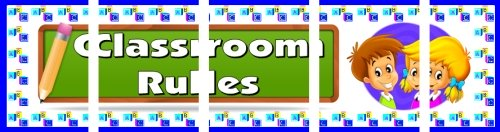Assemble these 5 pages together to create a free classroom rules bulletin board display banner.