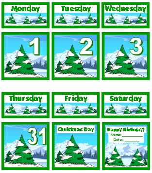 Free December Printable Classroom Calendar Set For Pocket Charts