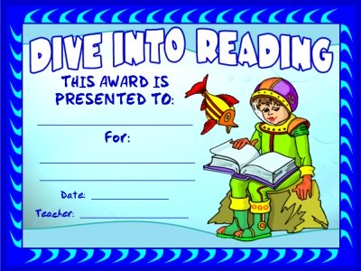 Free Dive Into Reading Award Elementary Students Certificate